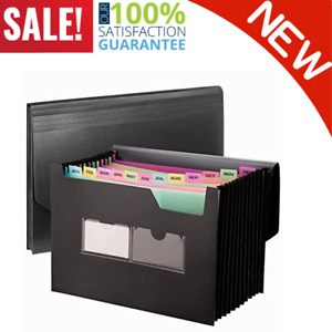 Expanding File Folder With Colored Sections 13 Pockets Stand Up Accordion New