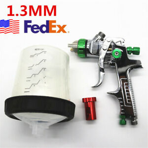 Green Tank Hvlp Feed Paint Spray Gun With Adapter 1 3 1 4 1 7mm Nozzle Tool Usa