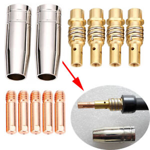 11pcs Mig Welding Nozzle Welder Torch Nozzles Gold Tip Holder Contact Tips Usa