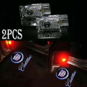 2x For Cadillac Ghost Led Logo Door Step Courtesy Shadow Laser Light Xts Srx Ats