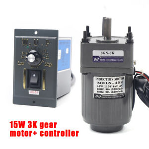 Ac110v Gear Motor Electric Motor Variable Speed Reduction Controller 1 3 450rpm