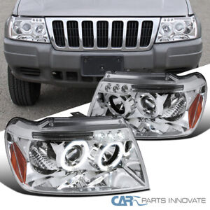 For 99 04 Jeep Grand Cherokee Led Dual Halo Projector Headlights Lamp Left right