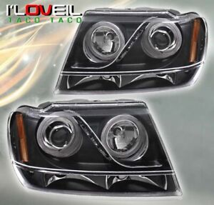 For 1999 2004 Jeep Grand Cherokee Laredo Black Halo Projector Led Headlights