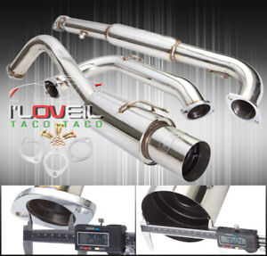Stainless Steel Catback Exhaust 65mm 4 5 Tip For 95 99 Mitsubishi Eclipse Gst