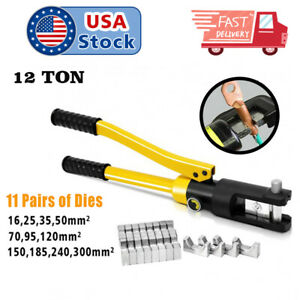 Hydraulic Crimper Crimping Tool w 11dies Wire Battery Cable Lug Terminal 12ton