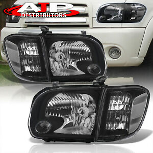 Black Clear Head Lights Bumper Lamps Lh rh For 2005 2007 Toyota Tundra Sequoia