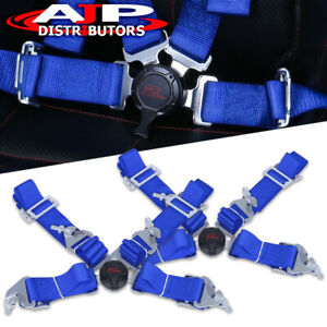 2x 4 Point 4pt Harness Camlock Jdm Racing Seat Belts Blue 2 Strap For Mazda