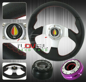 Mr2 Celica Corolla 320mm Black Steering Wheel Red Stitching Quick Release Hub