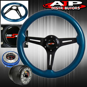 Quick Release For 96 05 Civic Blue Wood Black Center Deep Dish Steering Wheel