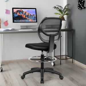 Mesh Drafting Chair Mid back Office Chair Adjustable Height With Footrest Black