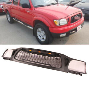 Grille For 2001 2004 Toyota Tacoma Black Plastic With 3 Led Lights Honeycomb