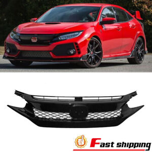 Fits 2016 2017 2018 Honda Civic Coupe Sedan Mesh Glossy Black Front Grille Grill
