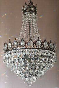 Antique Vintage Home Lighting French Empire Crystal Chandelier Lamp Pendant