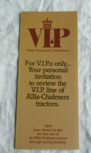 Allis chalmers Vip Invitation Card 8070 Tractor Brochure