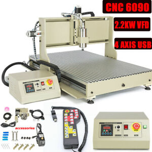 Used 4 Axis Cnc 6090 Router Engraver 2200w Vfd Engraving Milling Machine Usb