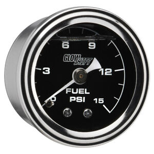 Glowshift Liquid Filled 15 Psi Mechanical Fuel Pressure Gauge Black Dial 1 1 2
