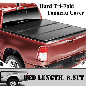 For 2009 2018 Dodge Ram 1500 6 5ft Bed Lock Solid Hard Tri Fold Tonneau Cover