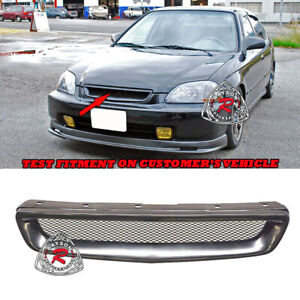 Tr Style Front Grill Abs W Aluminum Mesh Fits 96 98 Honda Civic