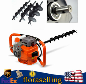 71cc Gas Powered Earth Auger Post Hole Digger Drill Bits 4 6 8 12 Bar New