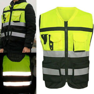 Unisex Safety Reflective Vest L xxxl W Pocket For Traffic Warning Construction