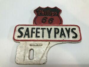Phillips 66 Safety Pays License Plate Topper Reproduction