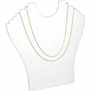 6 Tier White Flocked Chain Necklace Jewelry Display Bust 9 1 4 X 9 1 2