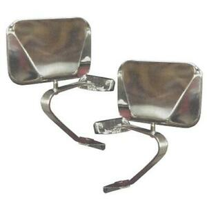 Stainless Fold away Side Mirrors 66 77 78 96 Early Ford Bronco Pair