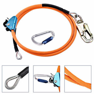 1 2 X 10 Steel Wire Core Lanyard Kit With Hook Carabineer Safety Tree Climbing