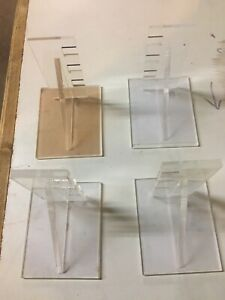 Large Lot Acrylic Display Brackets Entire Box Of 15 Sets Of 4 Each approx 60