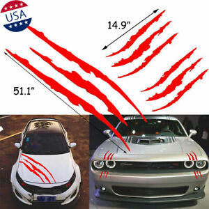 3pcs Set Red Monster Claw Paw Scratch Sticker For Car Headlight Hood Side Fender