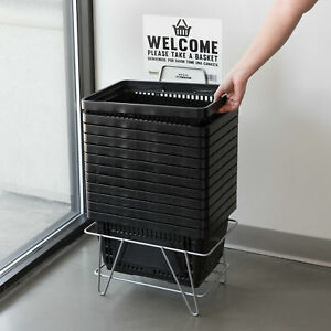 Plastic Grocery Convenience Store Shopping Basket Tote With Stand Black 12 Pack