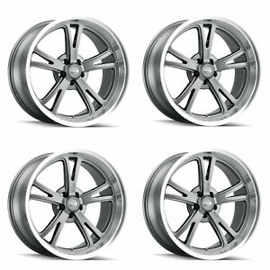 Set 4 18 Ridler 606 Grey W Milled Spokes Diamond Lip 18x8 5x4 75 Wheels 0mm