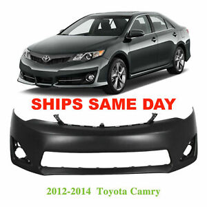 Primed Front Bumper Cover Fascia For 2012 2014 Toyota Camry Xle L E To1000378