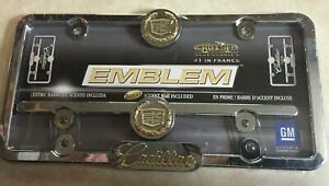 Chrome Metal Cadillac Gold Emblem logo License Plate Frame Car Truck Tag Holder