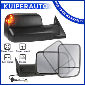 Power Heated Towing Mirrors For 98 02 Dodge Ram 1500 2500 3500 W led Turn Signal