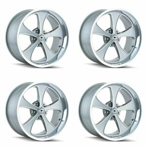 Set 4 18 Ridler 645 Grey Machined Face Polished Lip 18x9 5 5x5 Wheels 0mm Rims