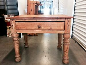 Vintage Frech Farmhouse Table Pine Wood Antique 1900 S 1 Drawer Heavy