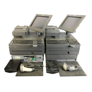 2 Ibm 4800 j22 Pos System Retail Cash Registers 700 Series W Scanner And Pads