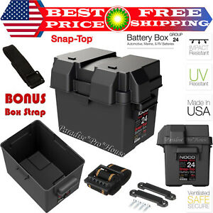 Snap Top Battery Box Automotive Marine 24 Rv Batteries Storage Group Holder