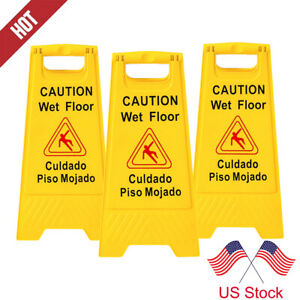 3pcs Wet Floor Warning Sign Safety Caution Board Bilingual Stand Signs 24 Inch