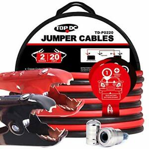 Topdc Jumper Cables 2 Gauge 20 Feet 450amp Heavy Duty Booster Cables