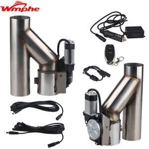 2x 2 5 Electric Exhaust Dual Valve Cut Out Downpipe Y Pipe Wireless Remote Kit