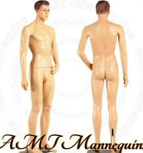 Male Mannequin 6ft Metal Stand Head Turns Full Body Realistic Manikin ym8 f