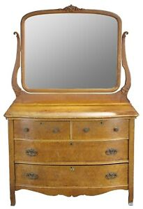 Antique Late Victorian Innis Pearce Co Birdseye Maple Mirrored Vanity Dresser