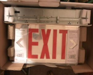 Led Exit Sign Battery Backup Glass Mirror W red Letters Recessed Mount Edge