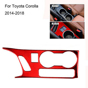 Red Carbon Fiber Water Cup Holder Frame Cover Trim For Toyota Corolla 2014 2018