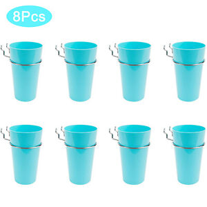 New 8 Set Pegboard Cups With Rings Metal Hooks Cups Holder Organizer Baskets