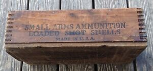 Old Small Arms Ammunition Loaded Shot Shells Wooden Crate Repurposed 4 Storage $100.00