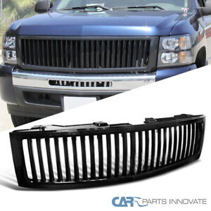 For Chevy 07 13 Silverado Vertical Glossy Black 1500 Front Bumper Hood Grille Wt