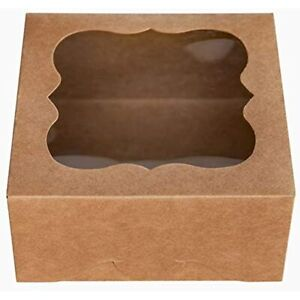 6 quotx6 quotx3 quotbrown Bakery Boxes With Pvc Window For Pie And Cookies Small